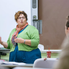 Professor Lucy Lawrence lectures