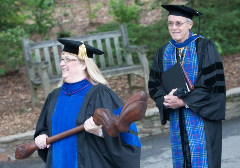 Dean Paula Garret and President Sandy Pfeiffer at 2011 Commencement