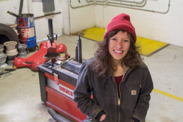 """For years, Warren Wilson College senior Savannah Livengood looked for fellow students to help her create """"A Night at the Autoshop."""" The right partners — sophomores Corinna Steinrueck and Charlotte Surface — finally came along in 2017."""