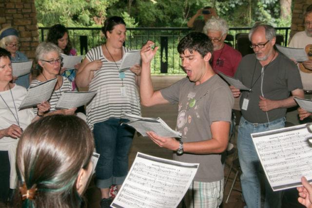 Bluegrass musician Josh Goforth teaches a class at The Swannanoa Gathering.
