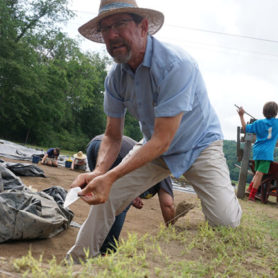 Warren Wilson College professor David Moore excavates a portion of the Berry site.