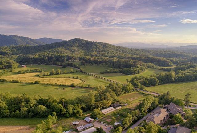 Aerial Landscape - Jones Mountain, Farm, and Garden